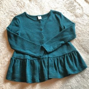 Green sweater with gold pin stripes